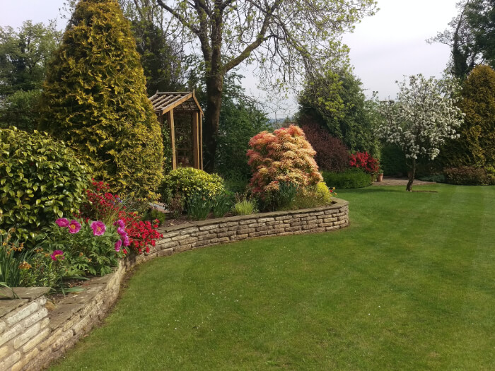 Garden with brick surrounding