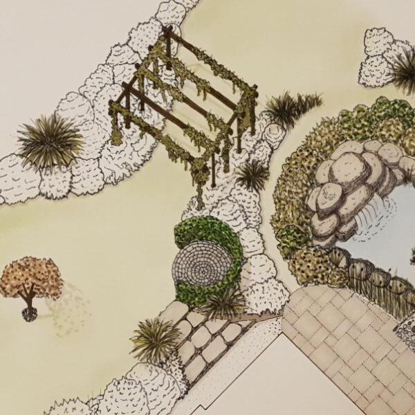 Detailed drawing of garden design