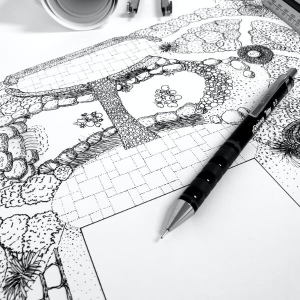 Detailed black and white drawing of proposed garden layout